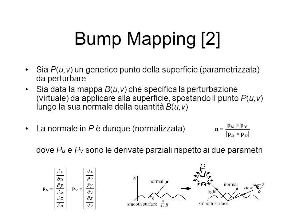 Bump Mapping [2] Sia P(u,v) un generico punto della superficie (parametrizzata) da perturbare.